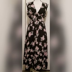 Free People Long Maxi Dress Black Pink Floral